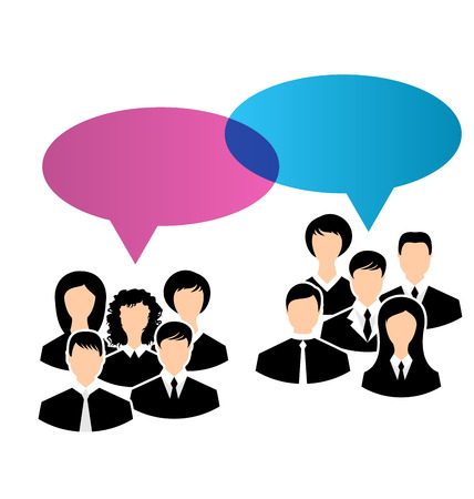 opinions: Illustration icons of business groups share your opinions, dialogs speech bubbles - vector