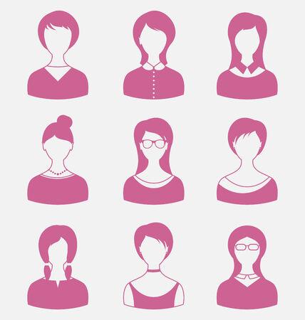 employe: Illustration avatars set front portrait of females isolated on white background - vector Illustration