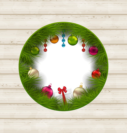 Illustration Christmas frame with traditional elements and copy space for your text - vector Vector
