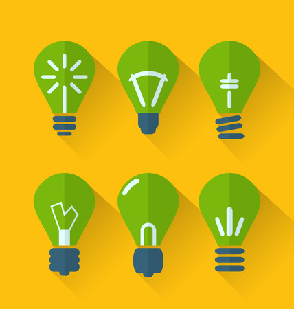 Illustration icon set process of generating ideas to solve problems, birth of the brilliant ideas - vector Vector