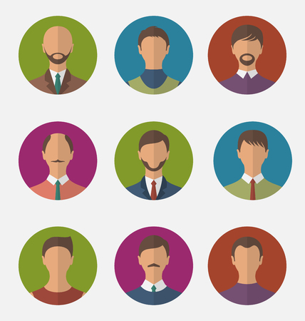 trendy male: Illustration set colorful male faces circle icons, trendy flat style - vector