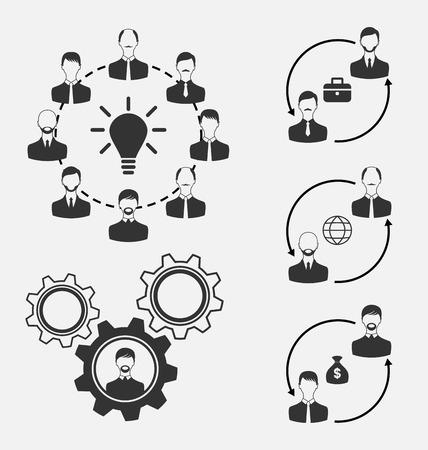 teammates: Illustration set of business people, concept of effective teamwork - vector