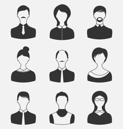 Illustration set business people, different male and female user avatars isolated on white background - vector Vector