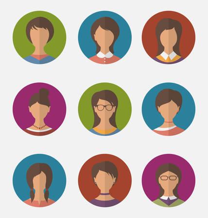 employe: Illustration set colorful female faces circle icons, trendy flat style - vector