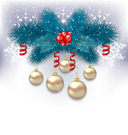 Illustration New Year background with fir branches and glass balls - vector Vector