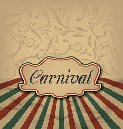 Illustration vintage card with advertising header for carnival illustration