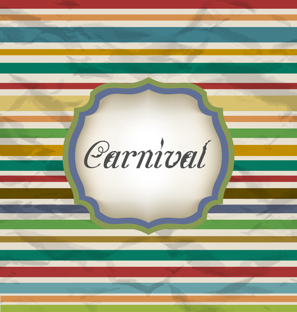 Illustration old colorful card with advertising header for carnival - vector illustration