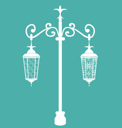 Illustration vintage forging ornate streetlamps isolated illustration