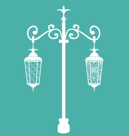forging: Illustration vintage forging ornate streetlamps isolated
