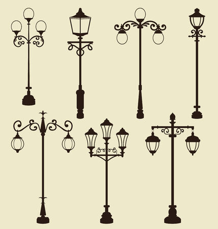 Illustration set of vintage various ornamental streetlamps - vector illustration