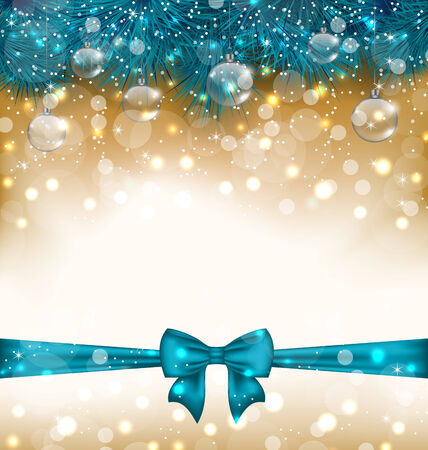 twigs: Illustration Christmas light background with realistic fir twigs, balls, ribbon bow  Stock Photo