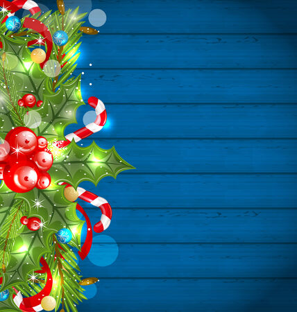 Illustration Christmas glowing background with holiday decoration - vector illustration