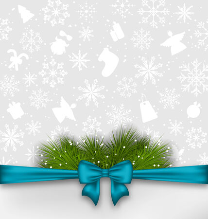twigs: Illustration Christmas background with bow ribbon and fir twigs