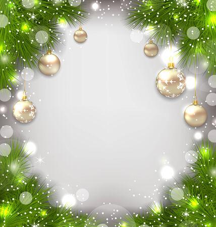 weihnachten: Illustration Christmas winter background with glass balls