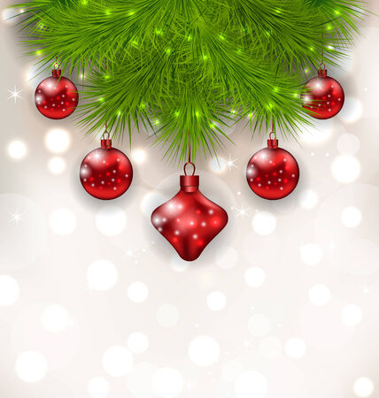 twigs: Illustration Christmas composition with fir twigs and red glass balls