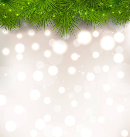 twigs: Illustration Christmas light background with realistic fir twigs Stock Photo