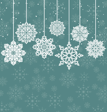 variation: Illustration Christmas background with variation snowflakes - vector