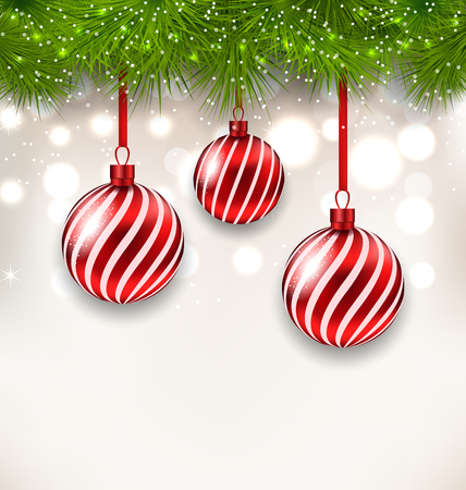 twigs: Illustration New Year background with glass hanging balls and fir twigs - vector
