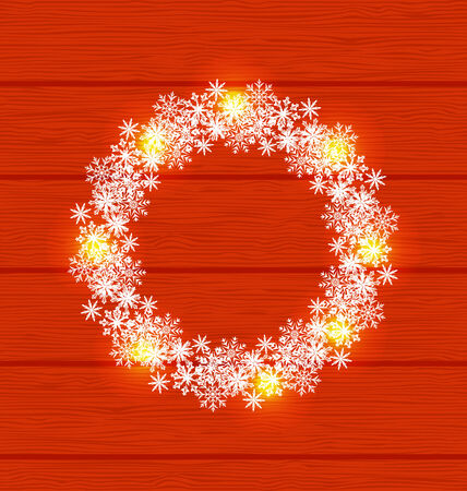 wooden circle: Illustration Christmas circle frame made in snowflakes on red wooden background
