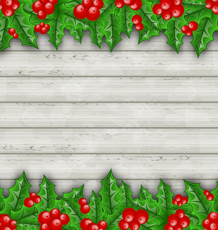 aquifolium: Illustration Christmas decoration holly berry branches on wooden background