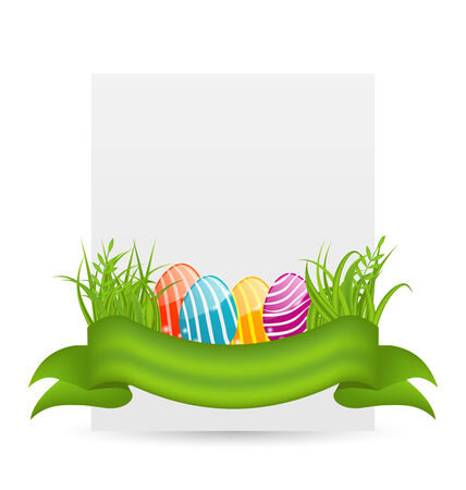pascua: Illustration Easter colorful eggs in green grass with empty paper card for your text - vector