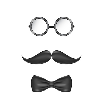 Illustration vintage symbolic of a man face, glasses, mustache and bow-tie, isolated on white background - vector illustration