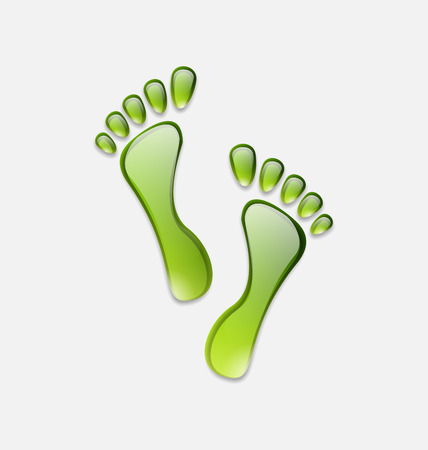 Illustration water green human foot print  isolated on white background - vector illustration