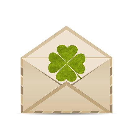 Illustration old envelope with clover isolated on white background for St. Patricks Day - vector illustration
