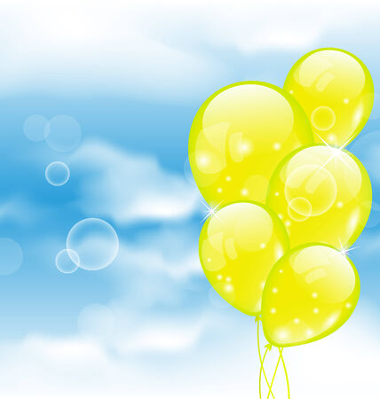 Illustration flying yellow balloons in blue sky - vector illustration