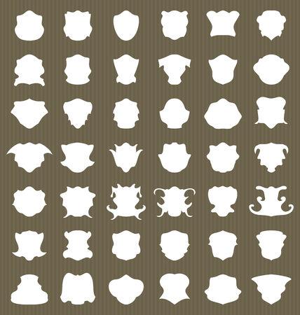 Set heraldic shield shape label - vector photo