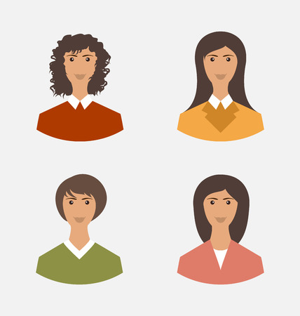 employe: Avatar set front portrait office employee business woman for web design icons  - vector