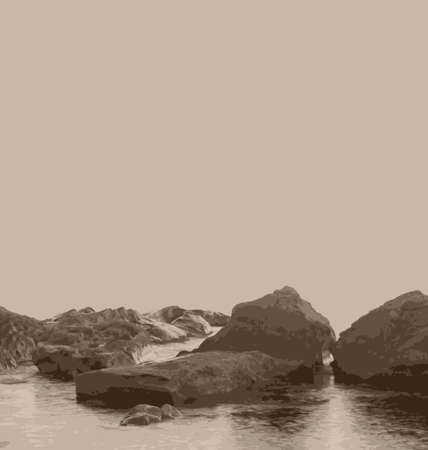 nature picture: Illustration vintage nature picture, sea and stones - vector