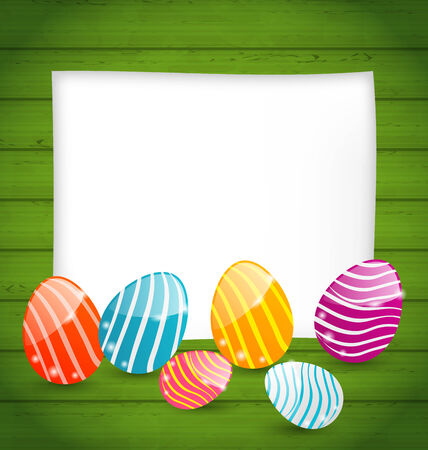 pascua: Illustration paper card with Easter colorful eggs - vector