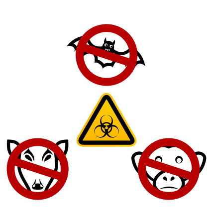 pandemia: Illustration stop signs in order to avoid disease Ebola virus - vector Stock Photo