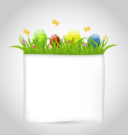 ostern: Illustration Easter colorful eggs in green grass with empty paper for your text - vector
