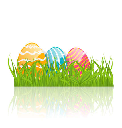 paschal: Illustration Easter background with paschal ornamental eggs  - vector Stock Photo