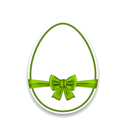 ostern: Illustration Easter egg wrapping green bow, isolated on white background - vector Stock Photo