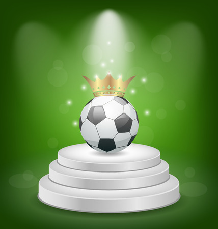 Illustration football ball with golden crown on white podium - vector illustration