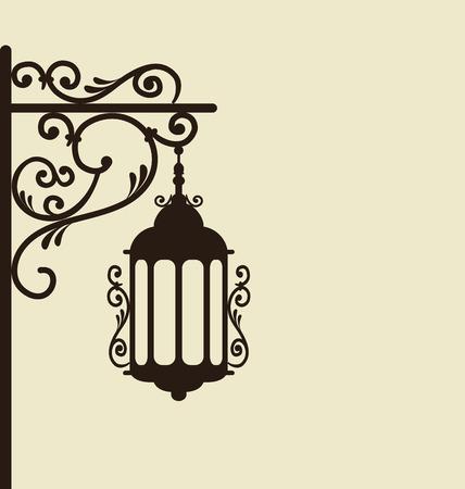forging: Illustration vintage forging ornate street lantern isolated - vector