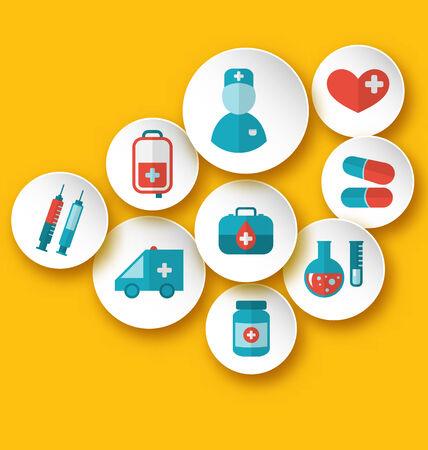 Illustration set medical icons for web design - vector illustration