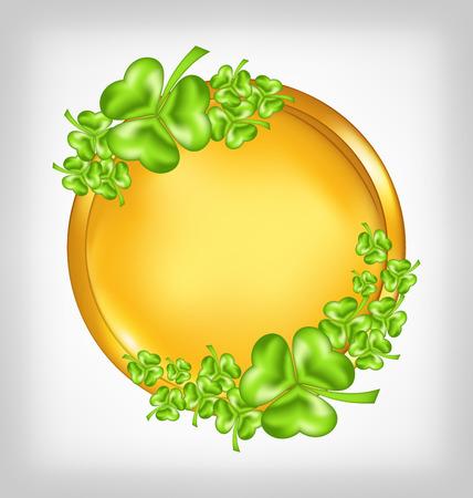 Illustration golden coin with shamrocks. St. Patricks day symbol - vector illustration