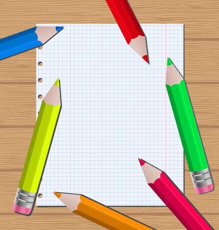 Illustration colorful pencils on paper sheet background - vector illustration