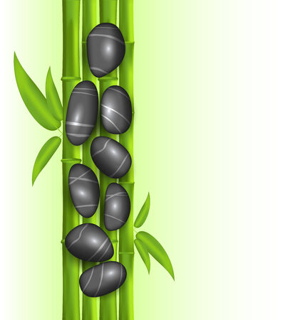 bamboo therapy: Illustration spa therapy decoration with bamboo and stones, template with copy space for your message or text - vector Stock Photo