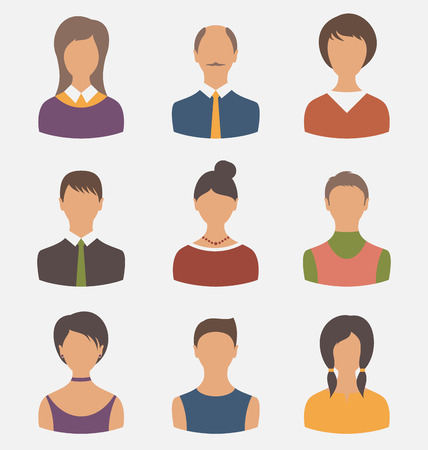 Illustration different male and female user avatars - vector illustration