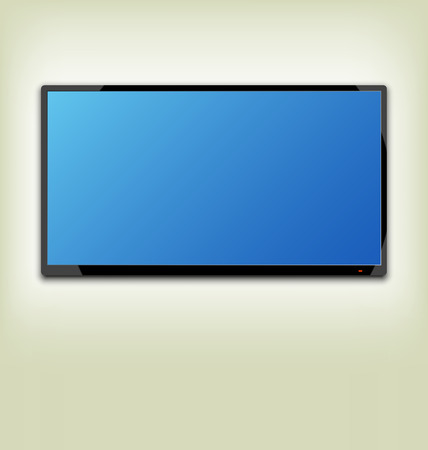 flat screen tv: Illustration LCD or LED tv screen hanging on the wall - vector