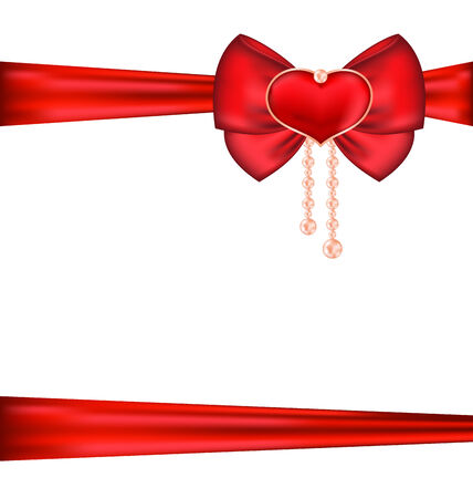 Illustration red bow with heart and pearls for packing gift Valentine Day - vector illustration