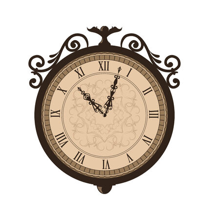 forging: Illustration forging retro clock with vignette arrows, isolated on white background  Stock Photo