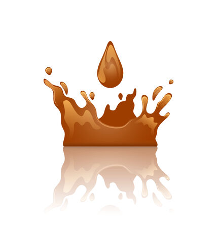 Illustration chocolate splash crown with droplet and reflection, isolated on white background  illustration