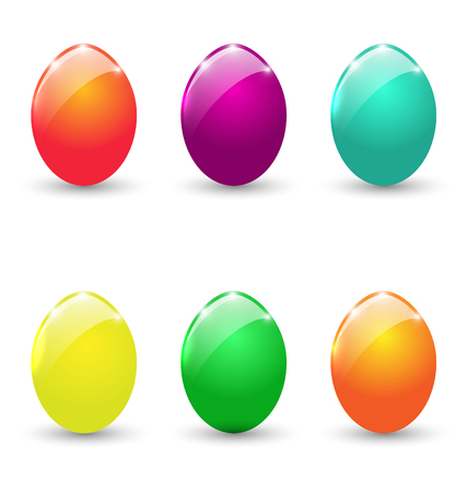 Illustration Easter set colorful eggs isolated on white background  Stock Photo