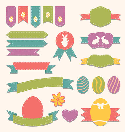pascua: Illustration Easter scrapbook set - labels, ribbons and other elements